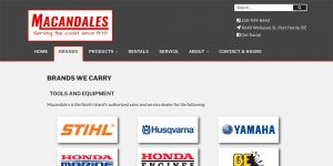 Macandales Brands page, created by Paradise West Web Design