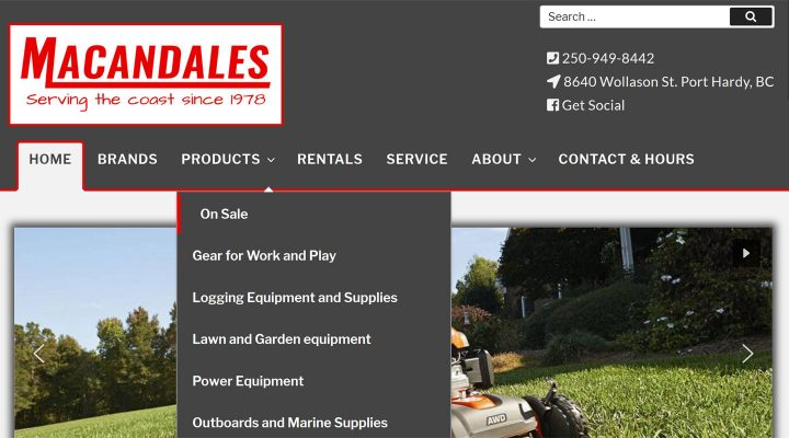 Macandales website home, designed by Paradise West Web Design, Qualicum Beach