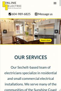 Mobile view of Inline Electric homepage, designed by Qualicum Beach Web Designer Paradise West