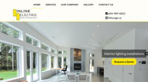 Inline Electric homepage, designed by Qualicum Beach Web Designer Paradise West