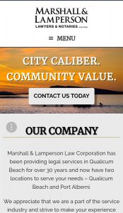 Image of Marshall and Lamperson's homepage, created by Qualicum Beach Web Designer, Paradise West
