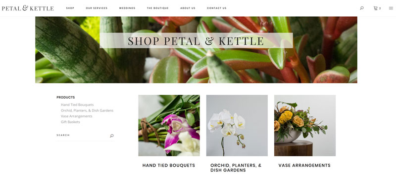 Shop page design of Petal and Kettle website, developed by Vancouver Island web designer Paradise West