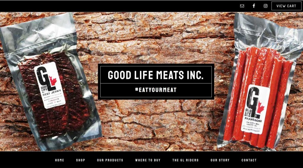 Image of Good Life Meat's homepage, created by Vancouver Island website designer and developer Paradise West