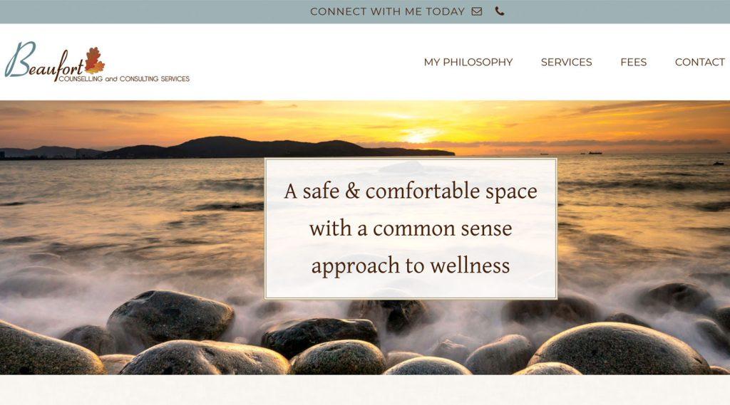 Website screenshot from Qualicum Beach web designer's work on Beaufort Counselling website