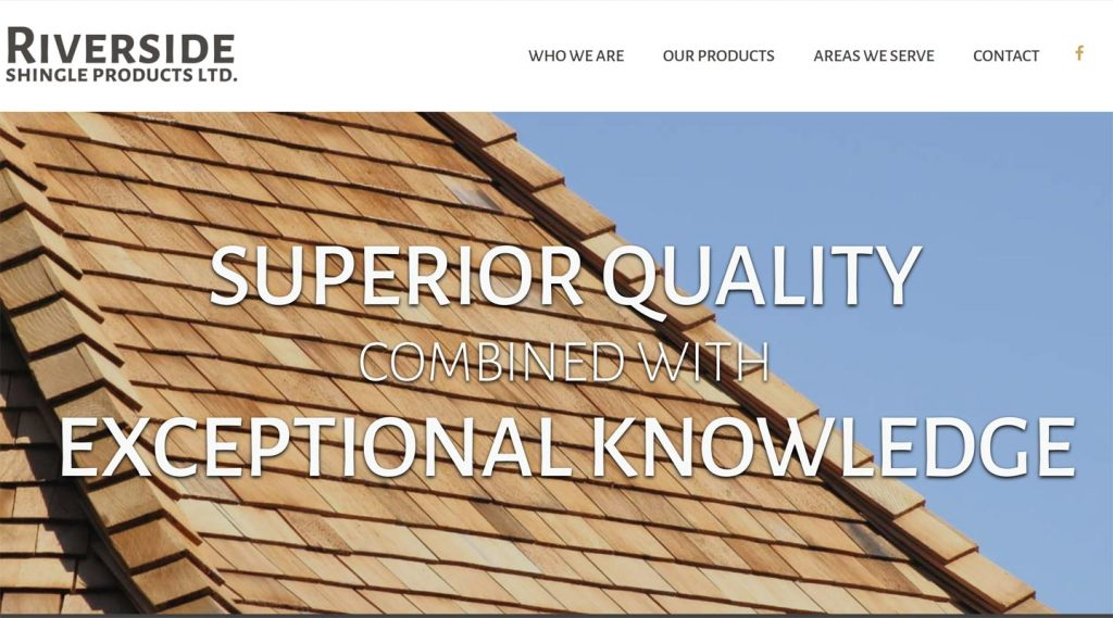 Riverside Shake and Shingle homepage, created by Vancouver Island website designer in Qualicum Beach, Paradise West